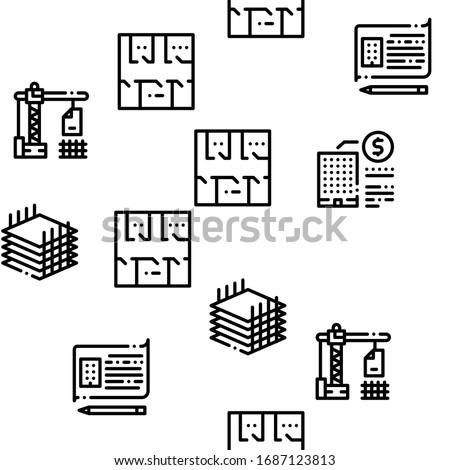 Bim Building Information Seamless Pattern Vector Stock photo © pikepicture