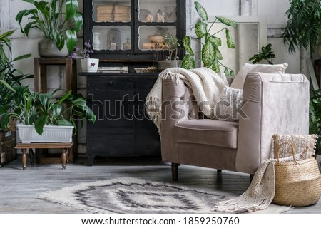 chic chest of drawers with home plants and decoration in a spacious room Stock photo © ruslanshramko