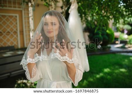 Noiva transparente véu azul parede Foto stock © ruslanshramko