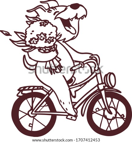 Cartoon outline happy dog on bike with bouquet of flowers. Vector hand drawn coloring page illustrat Stock photo © vasilixa