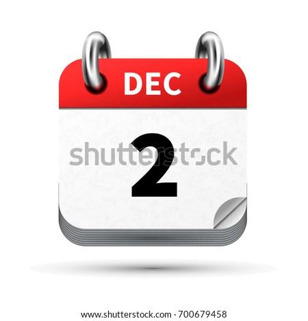 Luminoso realistico icona calendario dicembre data Foto d'archivio © evgeny89