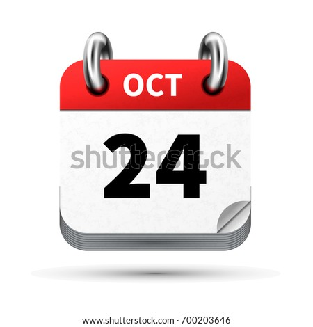 Bright realistic icon of calendar with 24 october date isolated on white Stock photo © evgeny89