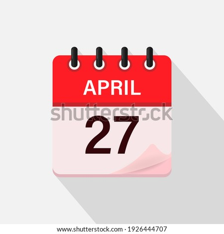 Simple black calendar icon with 27 april date isolated on white Stock photo © evgeny89