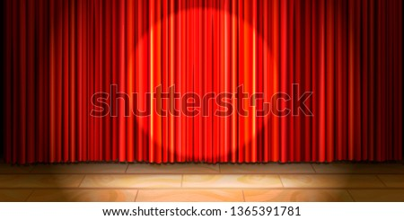 Empty beige wooden stage with red curtain drape and round spot light Stock photo © evgeny89