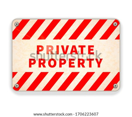 Bright glossy metal plate, private property warning sign template on white Stock photo © evgeny89