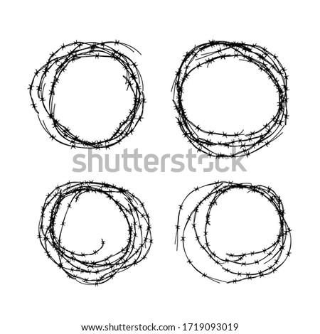 набор различный колючую проволоку черный белый Сток-фото © evgeny89