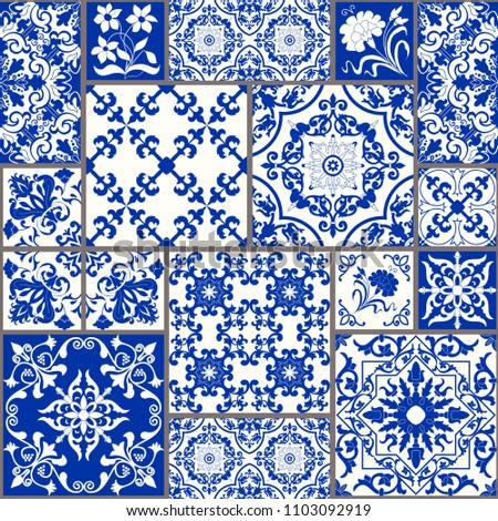 Seamless patchwork tile with Victorian motives. Majolica pottery tile, colored azulejo, original tra Stock photo © sanyal