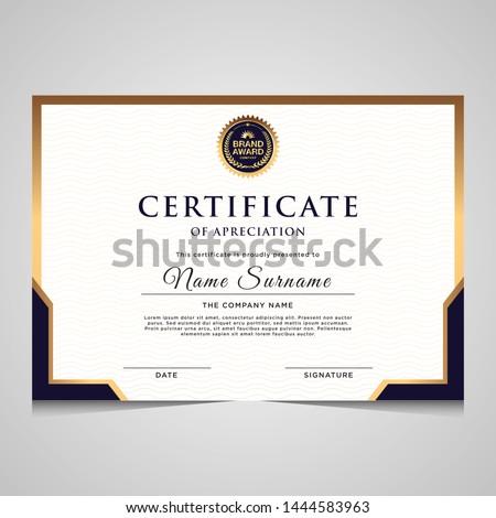 Absztrakt bizonyítvány elismerés sablon kék arany Stock fotó © SArts