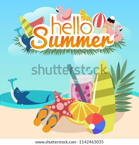 Hello Summer Sale Design with Typography Letter and Exotic Palm Leaves in Sun Glasses on Blue Backgr Stock photo © articular