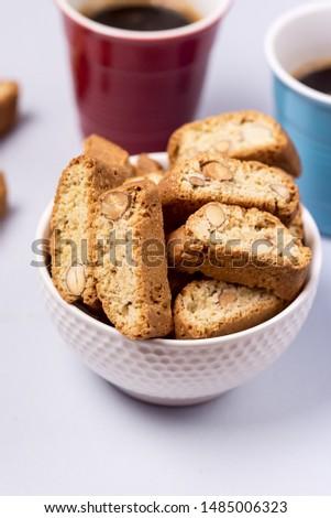 Two cups of coffee, fresh Italian cookies cantuccini and almond  Stock photo © marylooo