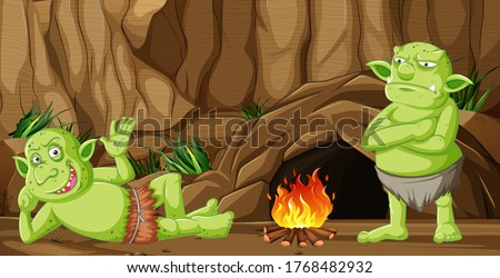 Goblins or trolls with cave house and camp fire in cartoon style Stock photo © bluering