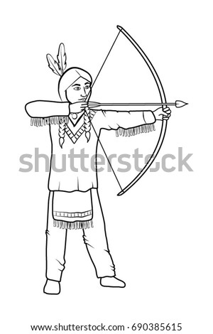 Boy in native american costume in colour and outline and silhoue Stock photo © bluering