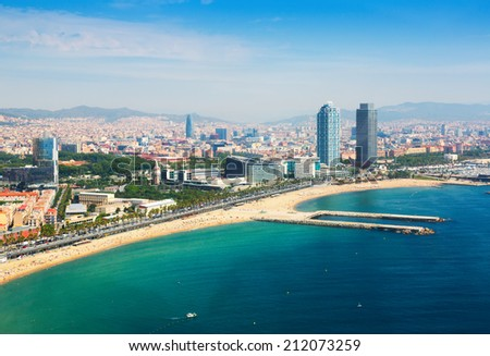 Aerial view of Barcelona city and port with yachts Stock photo © dmitry_rukhlenko
