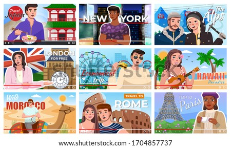 Video preview for bloggers who recording online video on travels. Travel blogging. Vlog trip Stock photo © robuart