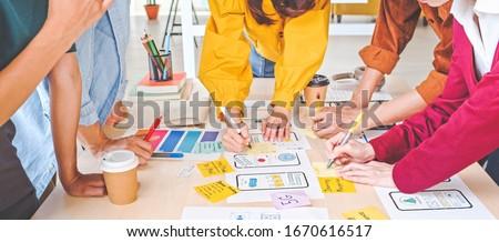 Gráfico trabajo en equipo junto ui disenador planificación Foto stock © snowing