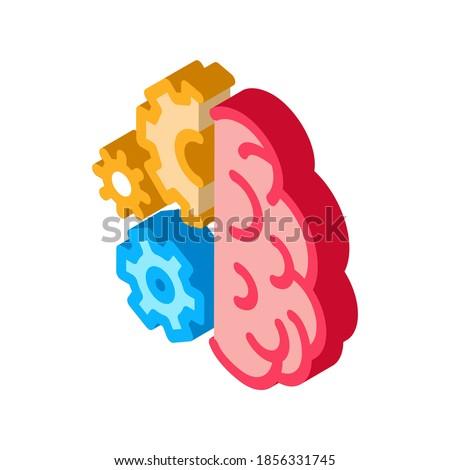 Cérebro mecanismo engrenagem isométrica ícone vetor Foto stock © pikepicture