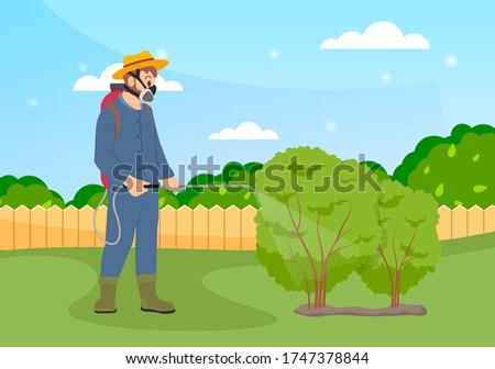 Gazda tart műtrágya kéz bokrok fák Stock fotó © robuart
