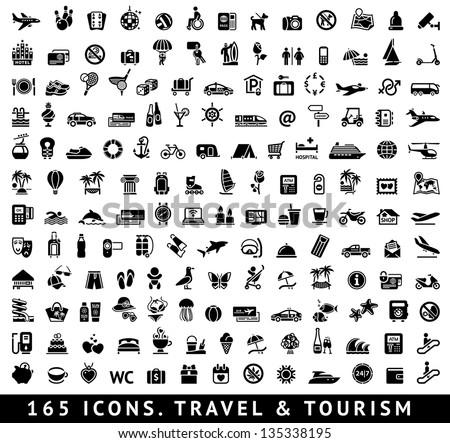 tourism recreation vacation icons set stock photo © ecelop