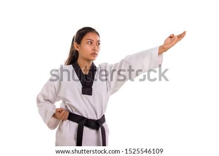 молодые женщины боевыми искусствами истребитель белый спорт Сток-фото © wavebreak_media