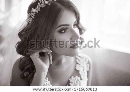 Jewelry. Glamorous Smiling Brunette with Brilliant Earrings. Sophistication Stock photo © gromovataya
