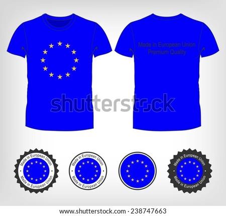 Man stretching jacket to reveal shirt with European Union flag Stock photo © stevanovicigor