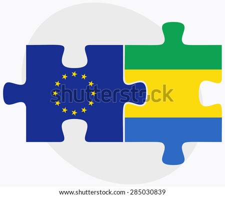 European Union and Gabon Flags in puzzle isolated on white backg Stock photo © Istanbul2009