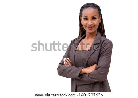 Isolé femme d'affaires jeunes pense affaires fille Photo stock © fuzzbones0