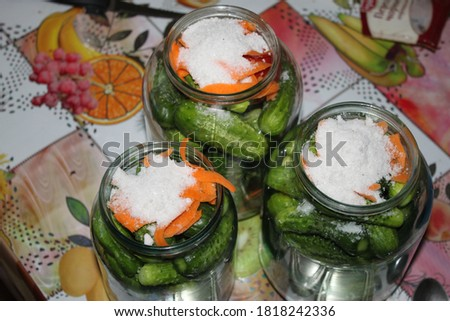 Cropped shot of cucumbers in jar preparate for canning isolated on white Stock photo © dla4