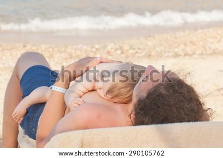 szczęśliwą · rodzinę · dziewczynka · morza · niebo · wody · rodziny - zdjęcia stock © Paha_L