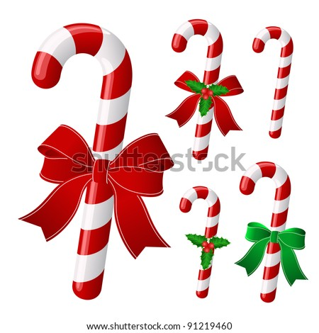 Collection of colorful candy canes and ornament on green backgro Stock photo © tab62