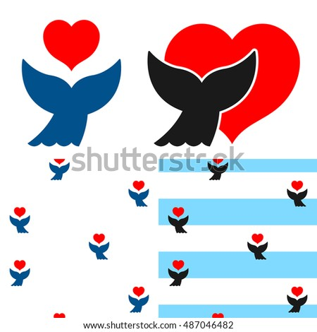 whale fluke and heart icon and seamless patterns stock photo © adrian_n