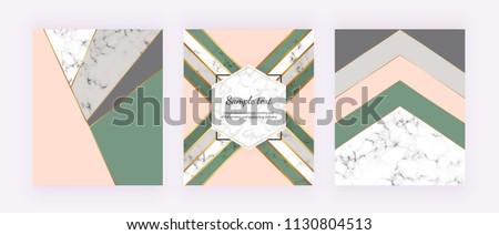 üçgen yeşil altın lüks model tebrik kartı Stok fotoğraf © Galyna