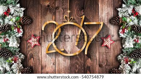 gelukkig · nieuwjaar · seizoen- · christmas · echt · hout · groene - stockfoto © davidarts