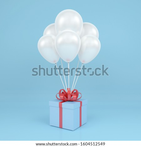 Gift box present with red ribbon bow and With inflatable figures Stock photo © user_11870380