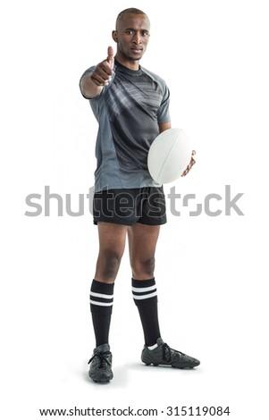 Portré rögbi játékos mutat remek áll Stock fotó © wavebreak_media