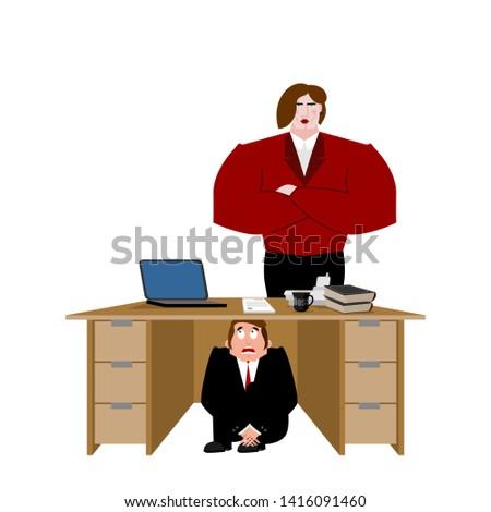 Biznesmen bać tabeli żona przestraszony człowiek biznesu Zdjęcia stock © popaukropa