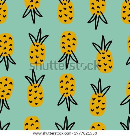 ананаса фрукты зеленый силуэта простой дизайна Сток-фото © hittoon