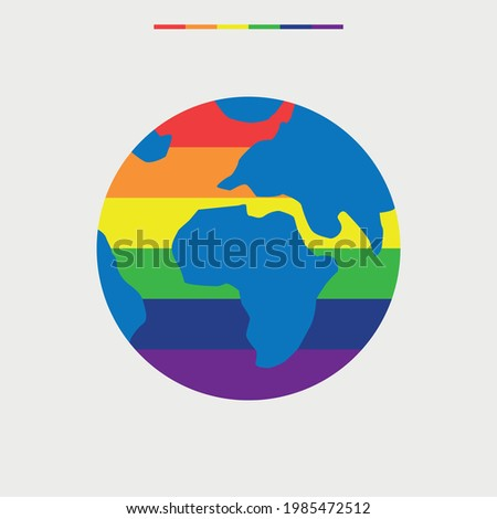 LGBT earth. Planet mainland and gay flag rainbow colors Stock photo © popaukropa