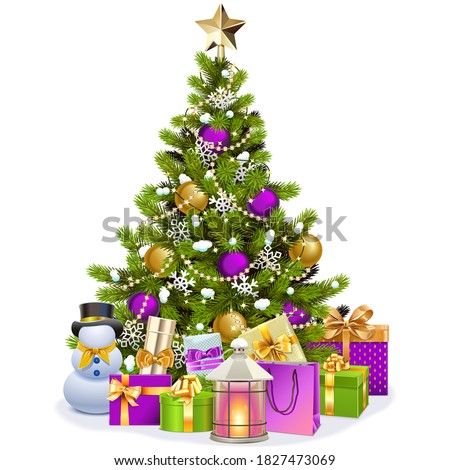 Snowman with a decorated Christmas tree Stock photo © Ustofre9