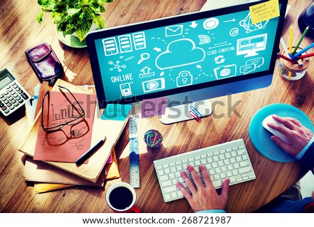 cloud computing concept work desk with computer technology cell phones and tablets flat vector il stock photo © makyzz