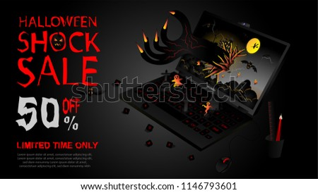 spooky halloween sale banner with haunted house and flying bats Stock photo © SArts