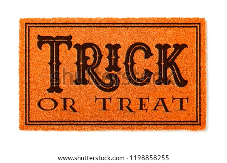 Trick Or Treat Halloween Orange Welcome Mat Isolated on White Ba Stock photo © feverpitch