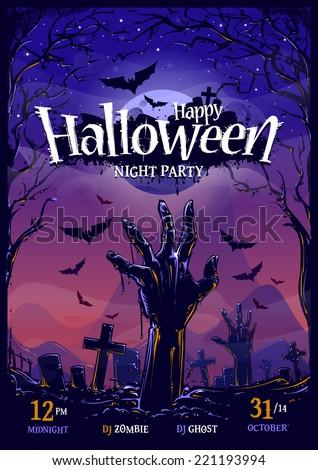 Halloween zombi buli szórólap illusztráció temető Stock fotó © articular