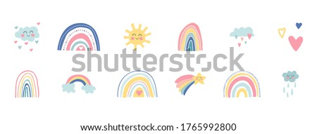 Cartoon sun pattern - hand drawn doodle sun. Cute colorful Seamless vector stock photo © Natali_Brill