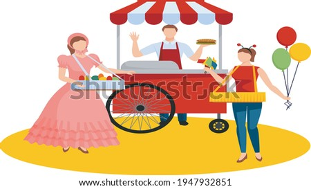 Popcorn Stall and Cityscape Vector Illustration Stock photo © robuart