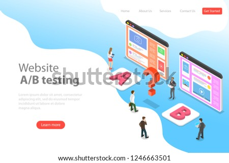 isometric flat vector landing page template of ab testing split test stock photo © tarikvision
