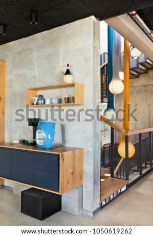 Open plan home interior with traditional staircase. Stock photo © iriana88w