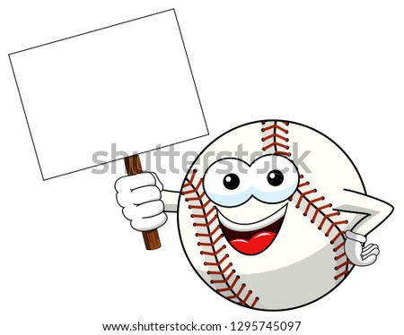 Smiling Softball Cartoon Mascot Character Holding A Blank Sign Stock photo © hittoon