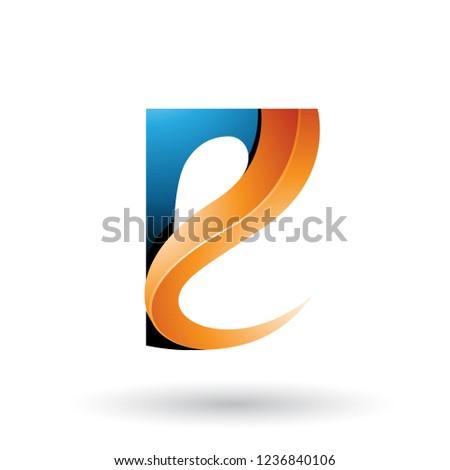 Blue and Orange Glossy Curvy Embossed Letter E Vector Illustrati Stock photo © cidepix