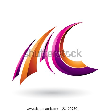 Magenta and Orange Glossy Flying Letter A and C Vector Illustrat Stock photo © cidepix
